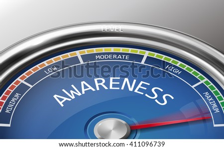 awareness conceptual 3d illustration meter indicator isolated on grey background - stock vector