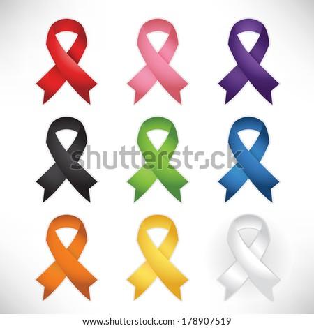 Awareness Ribbon Set - stock vector