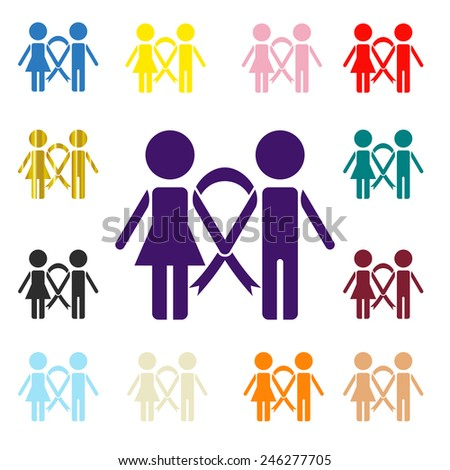 Awareness ribbons, different colors icon vector illustration set collection, people together concept - stock vector