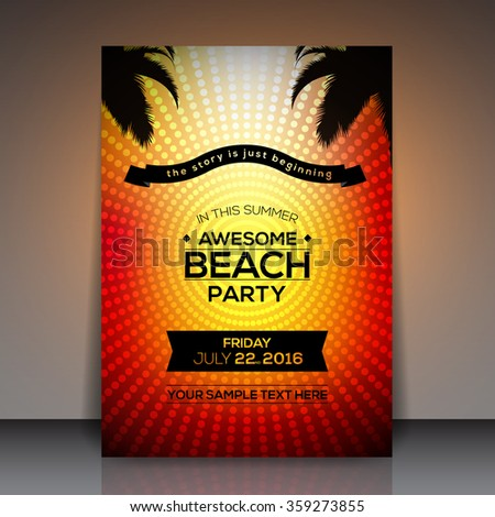 Awesome Beach Party Flyer Template Vector Background - stock vector