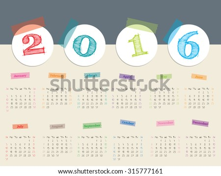 Awesome calendar design with color tapes for year 2016 - stock vector