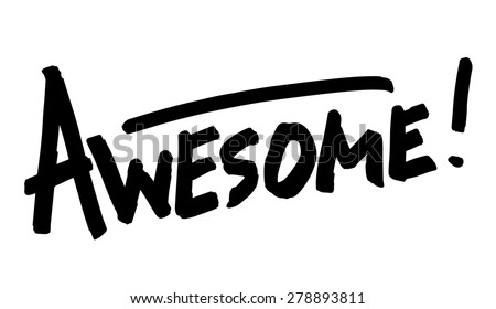 awesome hand lettering word vector illustration awesome black white