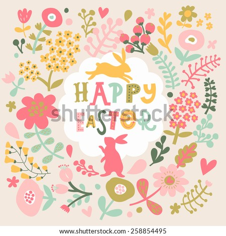 Awesome happy easter card in vector. Funny rabbits and spring flowers with hearts. Stylish holiday background in popular style