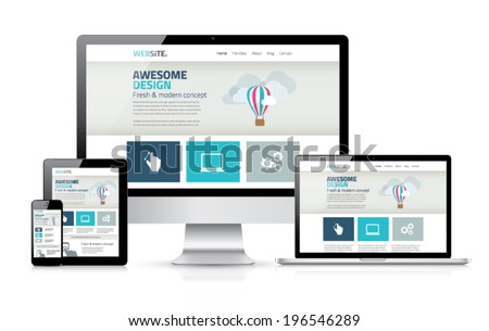 Awesome responsive web design development coding vector concept - stock vector