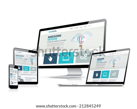Awesome responsive web design development side vector displays - stock vector