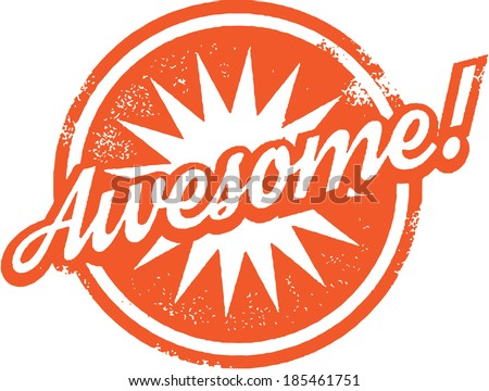 Awesome Rubber Stamp - stock vector