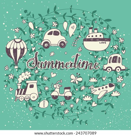 Awesome Summertime concept card with a lot of travel elements. Ideal for holiday designs - stock vector