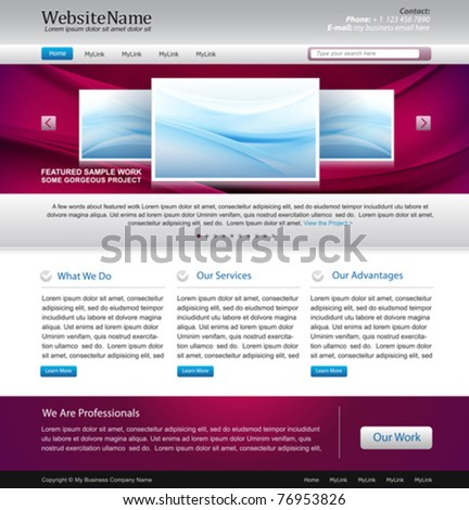 awesome website design template - easy editable - stock vector