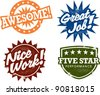 Awesome Work Award Stamps - stock vector