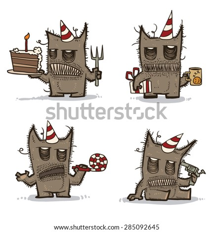Awful Monster Birthday set, vector - stock vector