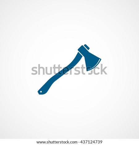 Axe Blue Flat Icon On White Background - stock vector