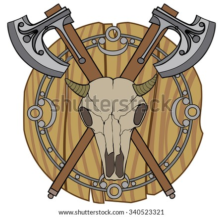 Axes, skull and shield. Knight's sign. Color illustration.