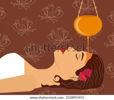 Ayurveda, ayurvedic treatment. Beautiful woman making sirodhara procedure with oil. Vector illustration - stock vector