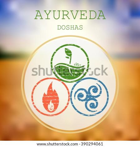 Ayurveda vector illustration. Doshas vata, pitta, kapha. Ayurvedic body types. Ayurvedic infographic. Healthy lifestyle.  - stock vector
