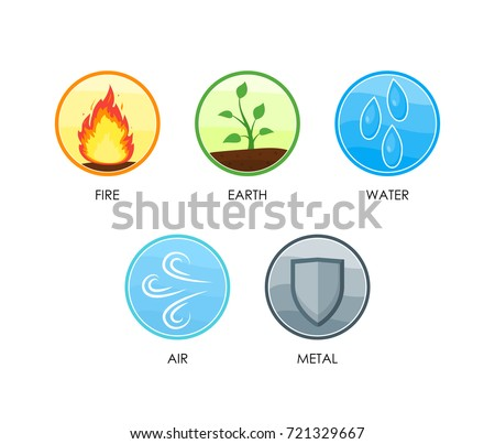 Ayurvedic Therapy Five Elements Nature Set Stock Vector Hd Royalty