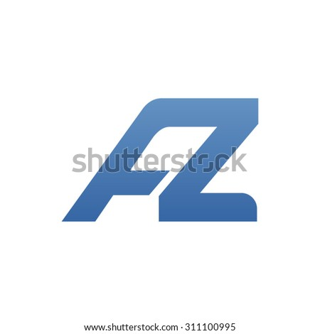 AZ letter logo connected - stock vector