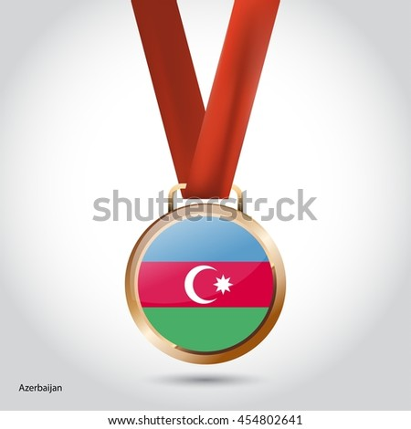 Azerbaijan Flag in Bronze Medal. Olympic Game Bronze Medal. Vector Illustration - stock vector