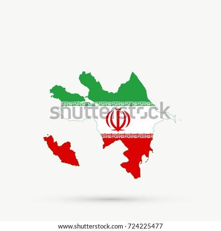 Azerbaijan Map Iran Flag Colors Editable Stock Photo Photo Vector