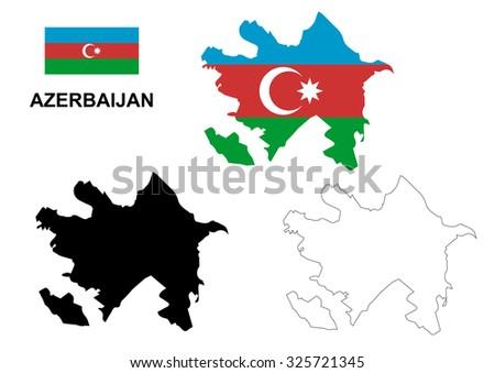 Azerbaijan map vector, Azerbaijan flag vector, isolated Azerbaijan - stock vector