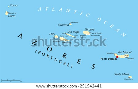 Azores Political Map with administrative capital Ponta Delgada. Autonomous region of Portugal composed of nine volcanic islands. English labeling and scaling. - stock vector