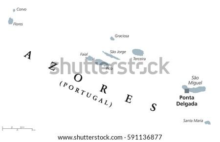 Azores Political Map Capital Ponta Delgada Stock Vector - Portugal map with azores