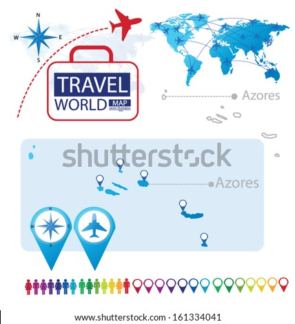 Azores. World Map. Travel vector Illustration. - stock vector