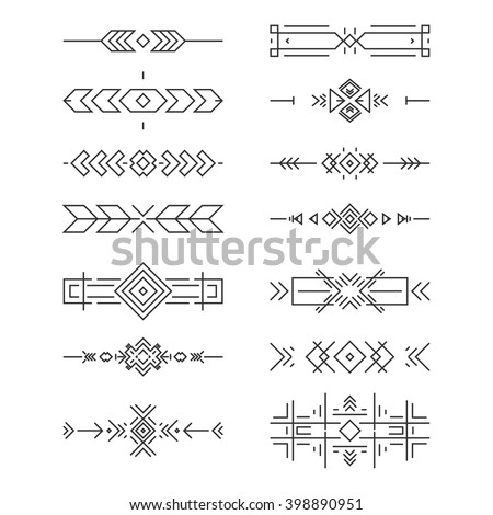 Aztec border collection made in clean and modern vector line style. - stock vector