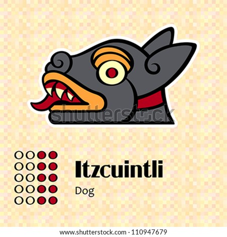 Aztec calendar symbols - Itzcuintli or dog (10) - stock vector