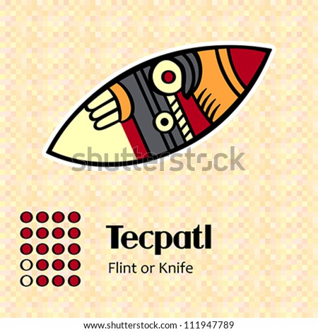 Aztec calendar symbols - Tecpatl or knife (18) - stock vector