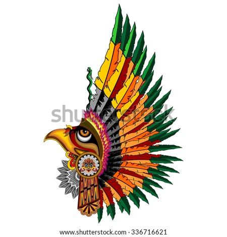 Aztec Eagle Warrior Mask - stock vector