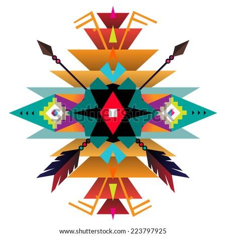 Aztec ethnic print background - stock vector