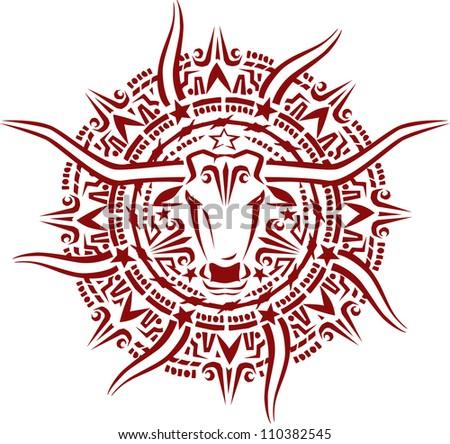 Aztec Longhorn Sunburst - stock vector