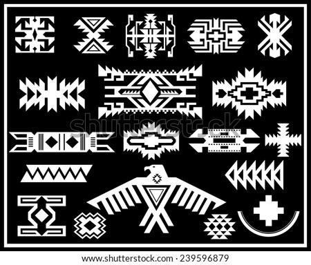 Aztec Navajo Indian American vector pattern illustration set - stock vector