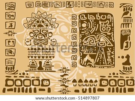 Aztec Ornamental Tribal Elements Symbols Ancient Stock Vector 2018