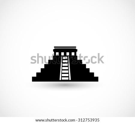 Aztec pyramid icon vector - stock vector