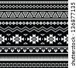 Aztec seamless pattern, tribal black and white background - stock vector