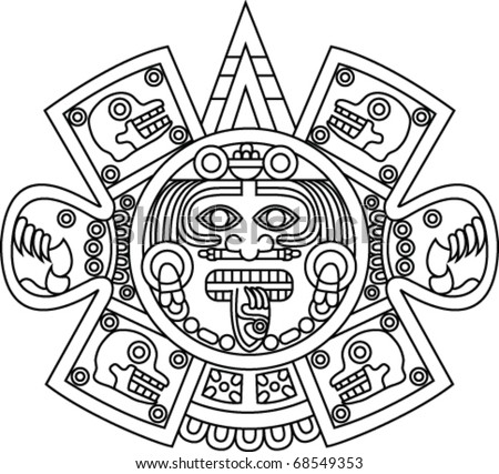 Aztec sun god symbol sketch coloring page for Aztec sun coloring page