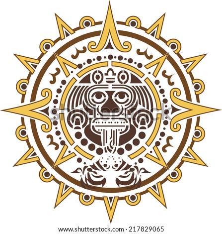 Aztec sun logo ethnic symbol  - stock vector