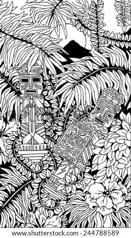 Aztec Totems Doodle Art - stock vector