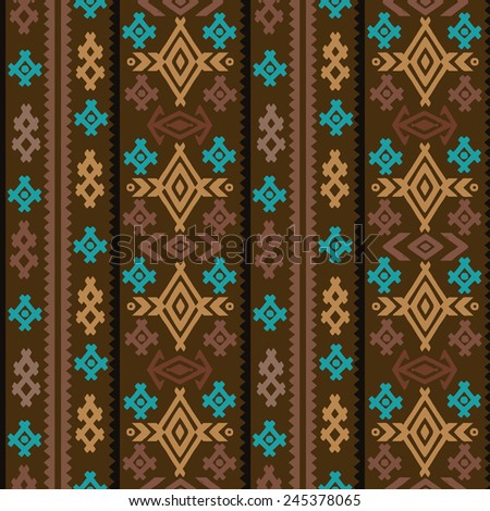 Aztec tribal art colorful seamless pattern. Ethnic mexican print. Folk border repeating background texture - stock vector