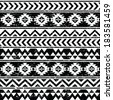 Aztec tribal seamless grunge white pattern on black background - stock vector