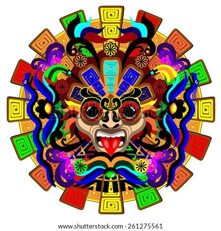 Aztec Warrior Mask - stock vector