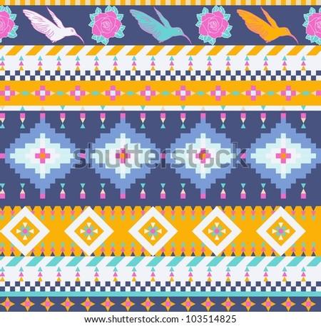 Aztecs seamless pattern - stock vector