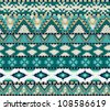 Aztecs seamless pattern on cold color - stock photo
