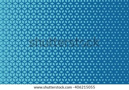 Azure blue horizontal isometric grid density gradient blend pattern vector - stock vector