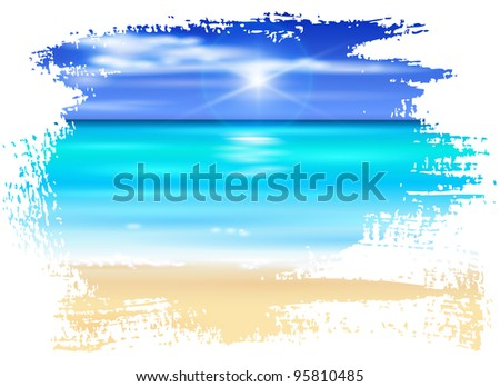 azure ocean, blue sky with white fluffy clouds, white sand deserted tropical beach - vector illustration - stock vector