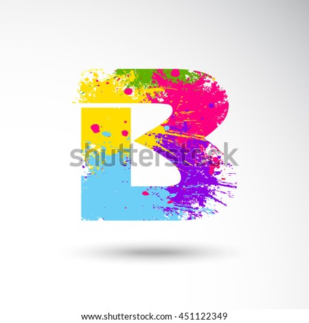 B Alphabet with colors splash style on grungy vector illustration