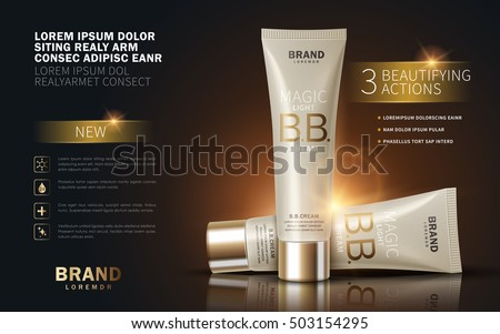B.B. cream ads, makeup tube template with sparkling effect. 3D illustration.