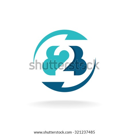 B2B letters round flat business logo with arrows - stock vector