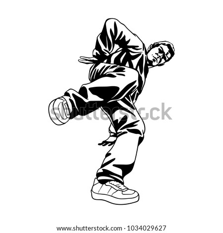 B Boy Dancer Character In Dynamic Pose Hand Drawn Lineart Vector Illustration Hip
